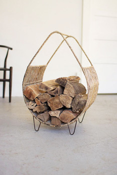 Woven Rush and Metal Firewood Rack with Tall Handle - A5978