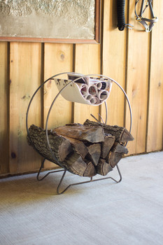 Round Log Holder with Canvas Kindling Sling - CQ6804