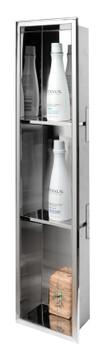 ALFI brand ABN0836-PSS 8 x 36 Polished Stainless Steel Vertical Triple Shelf Bath Shower Niche