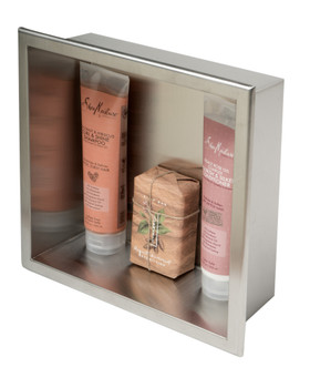 ALFI brand ABN1212-BSS 12 x 12 Brushed Stainless Steel Square Single Shelf Bath Shower Niche