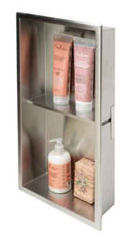 ALFI brand ABN1224-BSS 12 x 24 Brushed Stainless Steel Vertical Double Shelf Bath Shower Niche