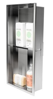 ALFI brand ABN1224-PSS 12 x 24 Polished Stainless Steel Vertical Double Shelf Bath Shower Niche