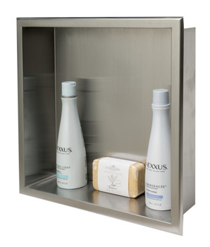 ALFI brand ABN1616-BSS 16 x 16 Brushed Stainless Steel Square Single Shelf Bath Shower Niche