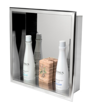 ALFI brand ABN1616-PSS 16 x 16 Polished Stainless Steel Square Single Shelf Bath Shower Niche