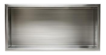 ALFI brand ABN2412-BS 24 x 12 Brushed Stainless Steel Horizontal Single Shelf Bath Shower Niche