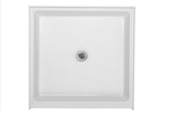 "CLARKE Colorfloors Single Theshold 36"" x 36"" Square Shower Base In Biscuit-SB3636-16(Picture Shown In White)"