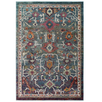 Modway Tribute Every Distressed Vintage Floral 8x10 Area Rug in Multicolored-R-1186A-810