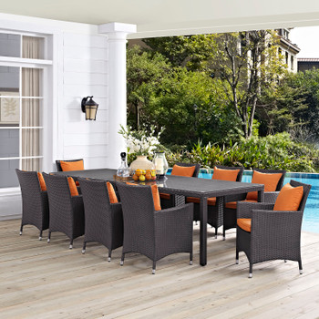 Modway Convene 11 Piece Outdoor Patio Dining Set in Espresso Orange Model: EEI-2219-EXP-ORA-SET
