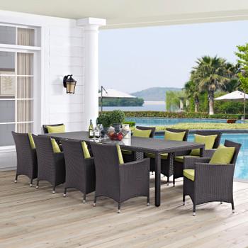 Modway Convene 11 Piece Outdoor Patio Dining Set in Espresso Peridot Model: EEI-2219-PER-MOC-SET