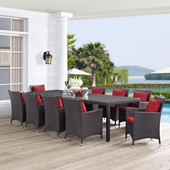 Modway Convene 11 Piece Outdoor Patio Dining Set in Espresso Red Model: EEI-2219-PER-RED-SET