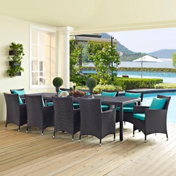 Modway Convene 11 Piece Outdoor Patio Dining Set in Espresso Turquoise Model: EEI-2219-PER-TRQ-SET