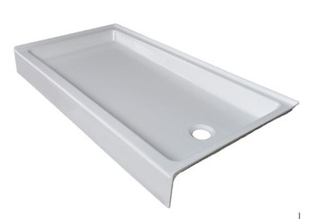 "CLARKE Colorfloors Single Theshold 60"" x 32"" Rectangular Shower Base In Biscuit/LEFT End Drain -SB6032L- 16(Pictuure shown in White)"
