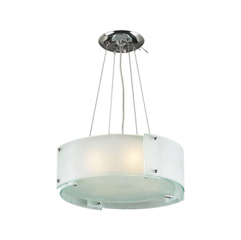 PLC 4 Light Chandelier Logan Collection 7284 PC In Frosted Glass/Polished Chrome