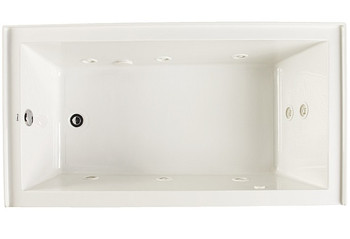 "CLARKE Sparta W3266PSKR-01 Acrylic Skirted 32"" X 66"" Whirlpool Bath Tub - Right End Drain In White"