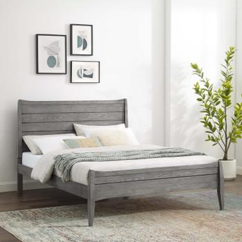 MODWAY Georgia King Wood Platform Bed MOD-6239 Gray