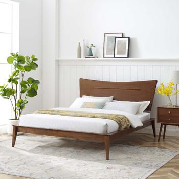 MODWAY Astra Full Wood Platform Bed MOD-6249 Walnut