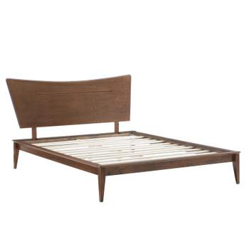 MODWAY Astra Queen Wood Platform Bed MOD-6250 Walnut