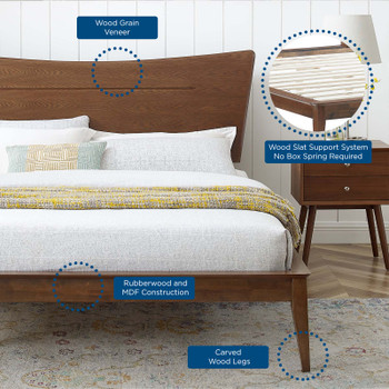 MODWAY Astra King Wood Platform Bed MOD-6251 Walnut