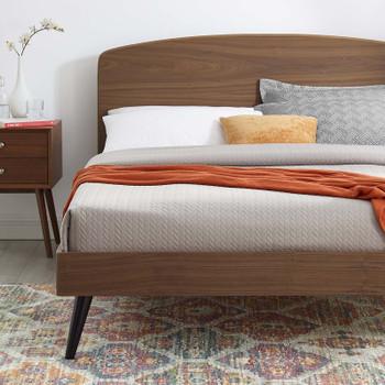 MODWAY Bronwen Twin Wood Platform Bed MOD-6252 Walnut
