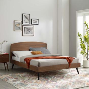 MODWAY Bronwen Full Wood Platform Bed MOD-6253 Walnut