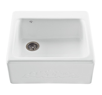 The Hatfield farmhouse style kitchen sink features a single bowl with an offset drain with a embossed front sink apron. In Sterling Silver