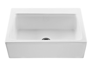The McCoy farmhouse style kitchen sink features a single bowl with a center drain with a plain front sink apron. In White