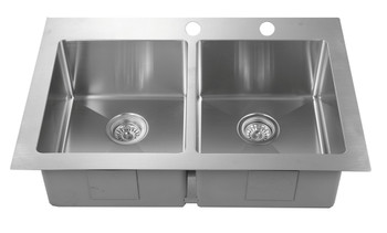 """Over mount 33"""" Doble Bowl Stainless Steel Sink, RD3322-D"""