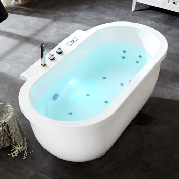 EAGO AM128ETL 6 ft Acrylic White Whirlpool Bathtub w Fixtures