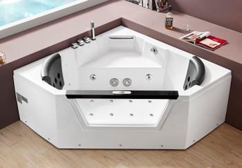 EAGO AM156ETL 5 ft Clear Corner Acrylic Whirlpool Bathtub for Two