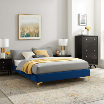 MODWAY Sutton Full Performance Velvet Bed Frame MOD-6306 Navy