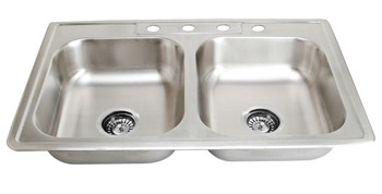 """Over mount 33"""" Doble Bowl Stainless Steel Sink, SM560-820-9"""