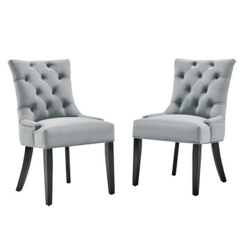 Regent Tufted Performance Velvet Dining Side Chairs - Set of 2 EEI-3780-LGR