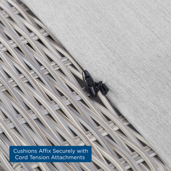 Conway Sunbrella® Outdoor Patio Wicker Rattan Ottoman EEI-3971-LGR-GRY