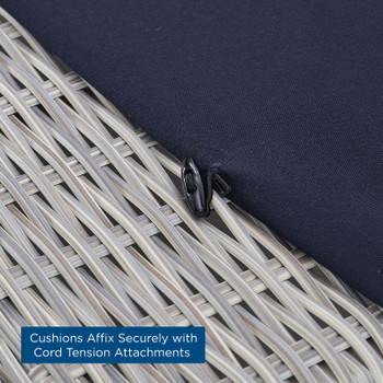 Conway Sunbrella® Outdoor Patio Wicker Rattan Ottoman EEI-3971-LGR-NAV