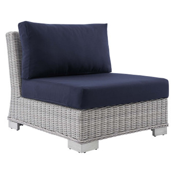 Conway Sunbrella® Outdoor Patio Wicker Rattan Armless Chair EEI-3980-LGR-NAV
