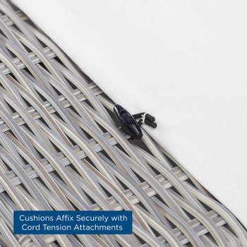 Conway Sunbrella® Outdoor Patio Wicker Rattan Armless Chair EEI-3980-LGR-WHI