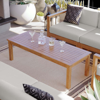 Upland Outdoor Patio Teak Wood Coffee Table EEI-4122-NAT