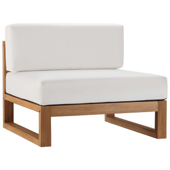 Upland Outdoor Patio Teak Wood Armless Chair EEI-4125-NAT-WHI