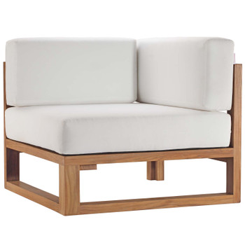 Upland Outdoor Patio Teak Wood Corner Chair EEI-4126-NAT-WHI