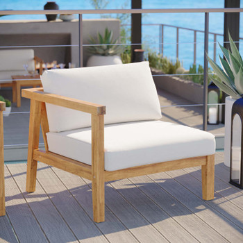 Bayport Outdoor Patio Teak Wood Left-Arm Chair EEI-4128-NAT-WHI