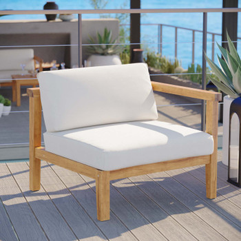 Bayport Outdoor Patio Teak Wood Right-Arm Chair EEI-4129-NAT-WHI