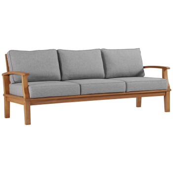 Marina Outdoor Patio Teak Sofa EEI-4176-NAT-GRY