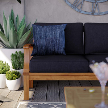 Marina Outdoor Patio Teak Sofa EEI-4176-NAT-NAV