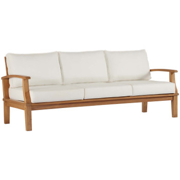 Marina Outdoor Patio Teak Sofa EEI-4176-NAT-WHI
