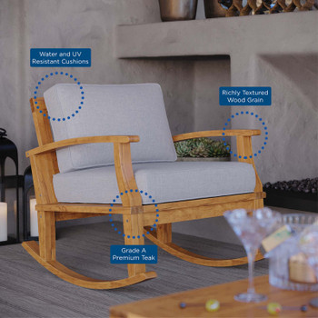 Marina Outdoor Patio Teak Rocking Chair EEI-4177-NAT-GRY