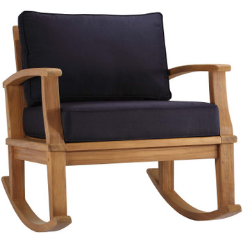 Marina Outdoor Patio Teak Rocking Chair EEI-4177-NAT-NAV