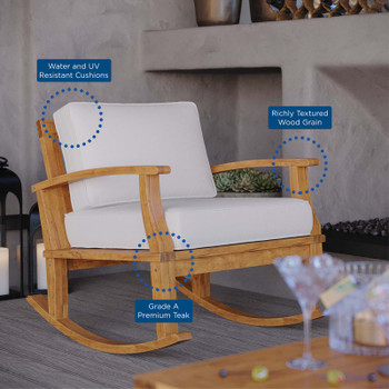 Marina Outdoor Patio Teak Rocking Chair EEI-4177-NAT-WHI