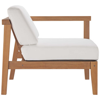Bayport Outdoor Patio Teak Wood 2-Seater Loveseat EEI-4259-NAT-WHI-SET