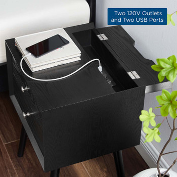 Ember Wood Nightstand With USB Ports EEI-4343-BLK-BLK