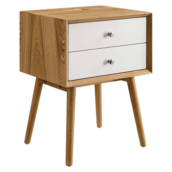 Ember Wood Nightstand With USB Ports EEI-4343-NAT-WHI